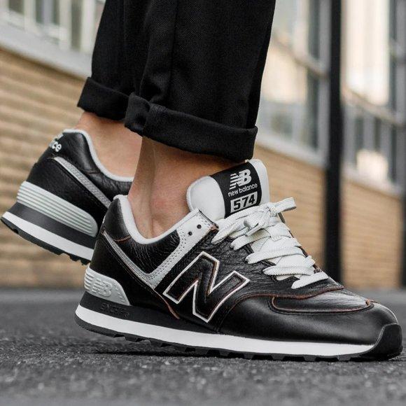New Balance 574 Black Leather Shoes Men's
